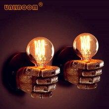 Творческий Винтаж E27 светодиодный кулак из смолы бра Ретро коридор прикроватный Спальня Edison G80 ST64 лампа накаливания комнатная настенная лампа
