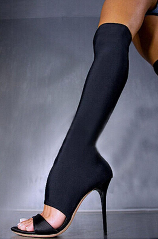 Nuevo diseño sobre la rodilla sandalias de tacón alto elásticas mujer fahion punta abierta sandalias de gladiador