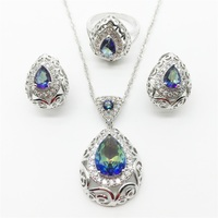 Charm Hollow Heart 925 Sterling Rainbow Topaz Jewelry Set Earrings Pendant Necklace Ring For Women Free