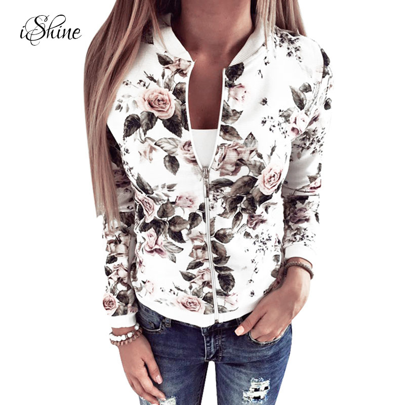 2017 Women Baseball   Jacket   Long-sleeved Sweatshirt Fitness Zipper Floral Print Bomber   Basic     Jacket   Coat Outerwear Chaqueta Mujer