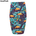 2017 Summer Autumn Women Crow Flower Print Pencil Skirt Elastic Bodycon Skirts For Work Wear Plus Size S - XXXL