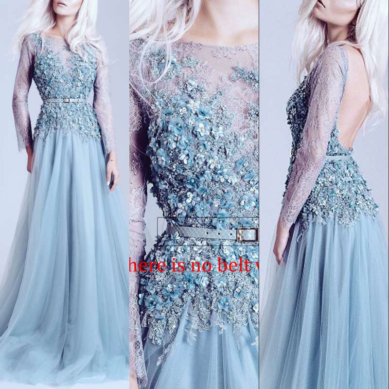 Long   Evening     Dress   Prom   Dresses   3D Flowers Women Formal Gown For Prom Wedding Party   Dresses   Robe De Soiree
