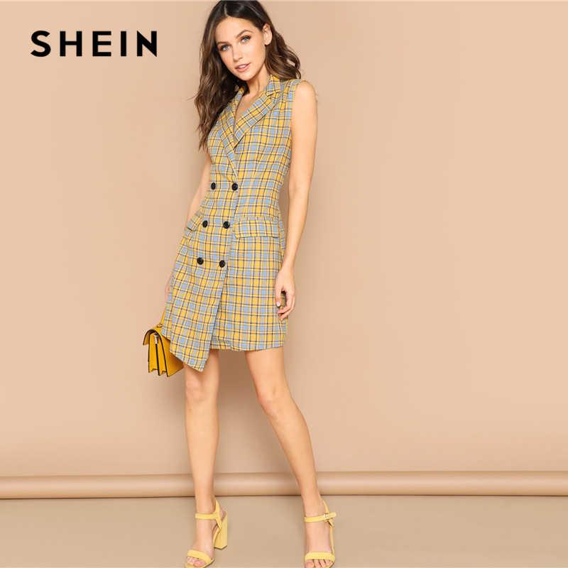 Шеин Элегантный Многоцветный двубортный вырез горловины Тонкий плед летнее платье без рукавов для женщин офисные женские туфли спецод
