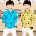 2017 de primavera y otoño ropa de los cabritos muchachos niño flecha de impresión camisas de manga larga camisas de los bebés de todo-fósforo de la camisa
