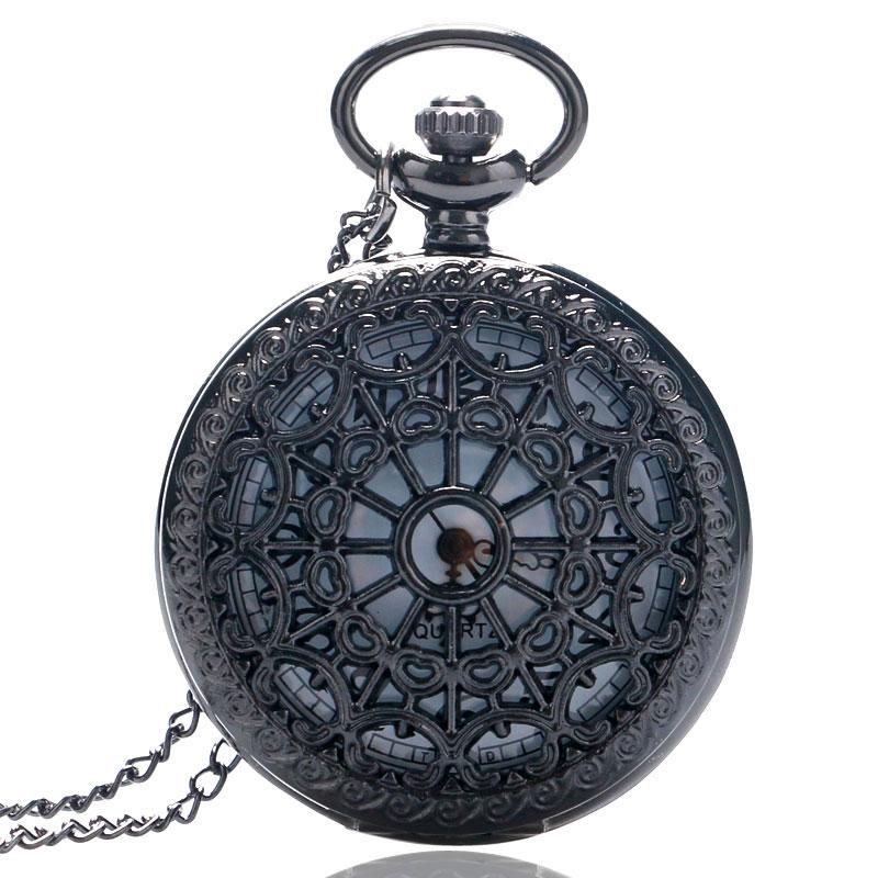 Vintage Black Web Spider Love Heart Quatz Pocket Watch Women Lady Girl Necklace Pendant Chain Birthday Gift Reloj De Bolsill