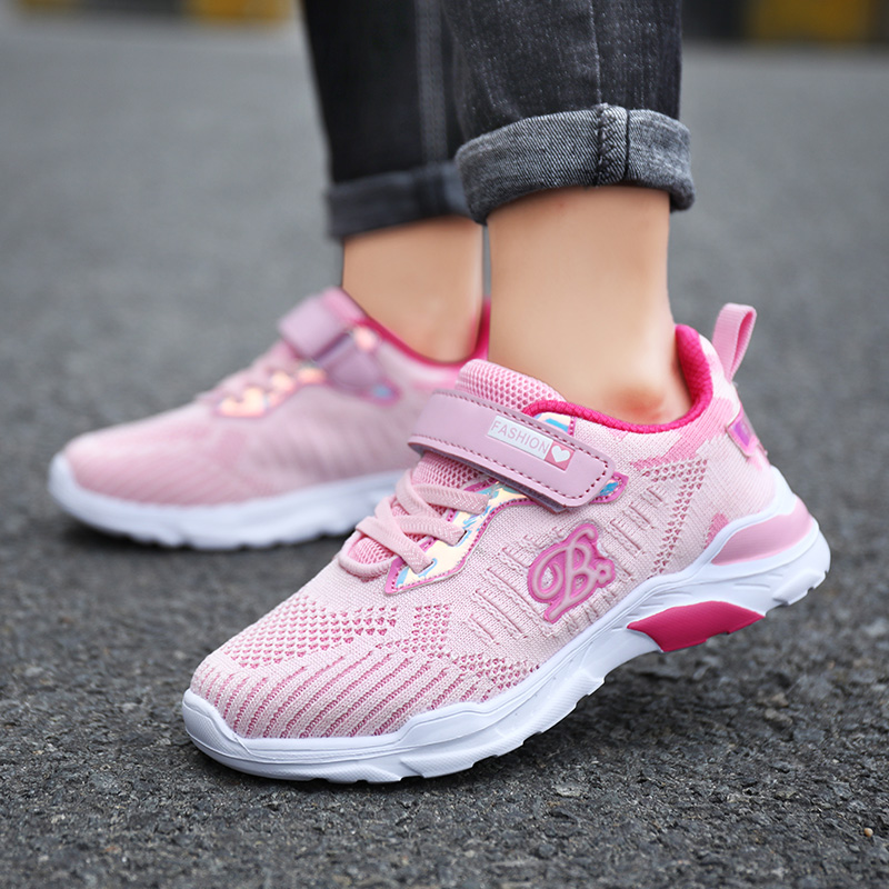 ULKNN 6 Girls Mesh Sneakers Kids New 8 Big Children Breathable Mesh Shoes 10 Girls Pink Casual Shoe 12 Years Old Students