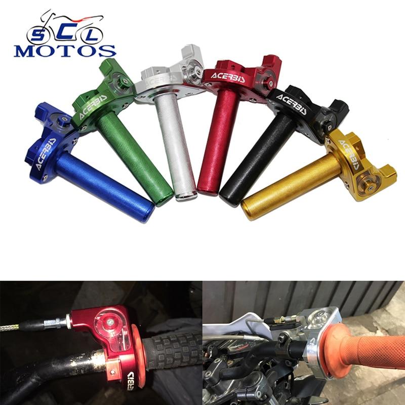 Sclmotos -CNC Aluminum 22mm Throttle Grip Twist Quick Action Gas Throttle With Cable Fit KAYO Apollo Bosuer Dirt Pit Bike Race