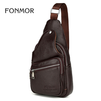 Genuine Leather Men Chest Pack Single Shoulder Bag Mens Sling Bag Messenger Crossbody Bag for Man