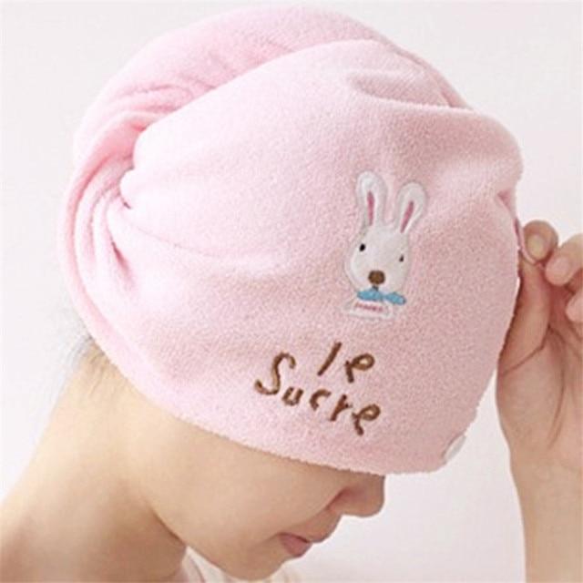 Cute rabbit super fiber dry hair cap super absorbent magic cartoon rabbit dry hair cap factory direct sale 1