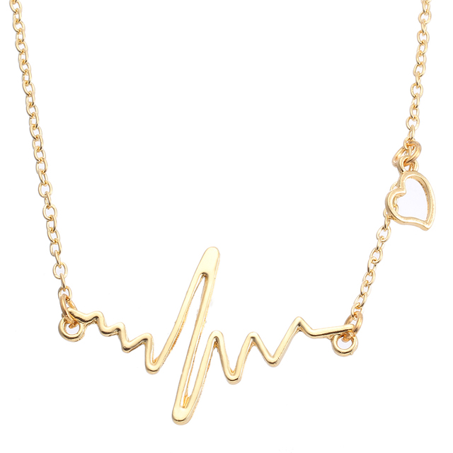 cdd6fd9bf Silver Gold Color Lifeline Pulse Heartbeat ECG Charm Heart Pendant Necklace  Clavicle Chain Choker Necklace Women
