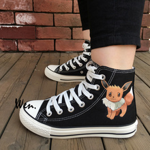 Wen Anime Sneakers Hand Painted Design Custom Shoes Pokemon Pocket Monster Eevee Fox High Top Men Women's Black Canvas Sneakers