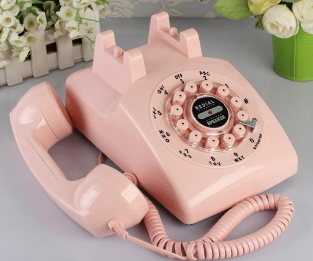 last century classical style antique telephone Beige black pink 1960