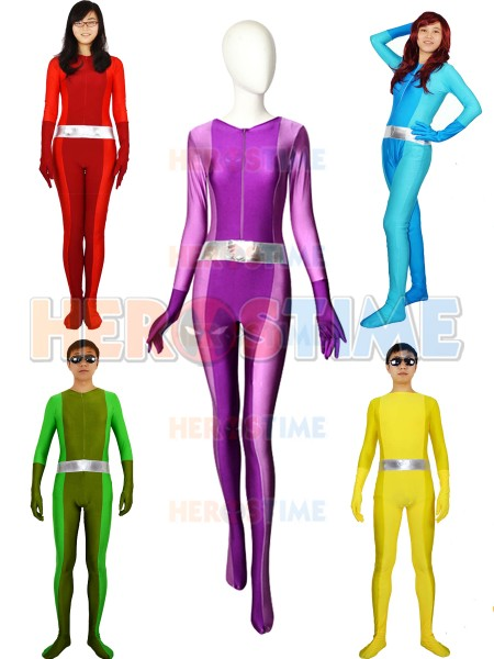 Sexy Women Lady Girls Totally Spies Base Suit Lycra Spandex Superhero Cosplay Zentai Catsuit for Adults Kids