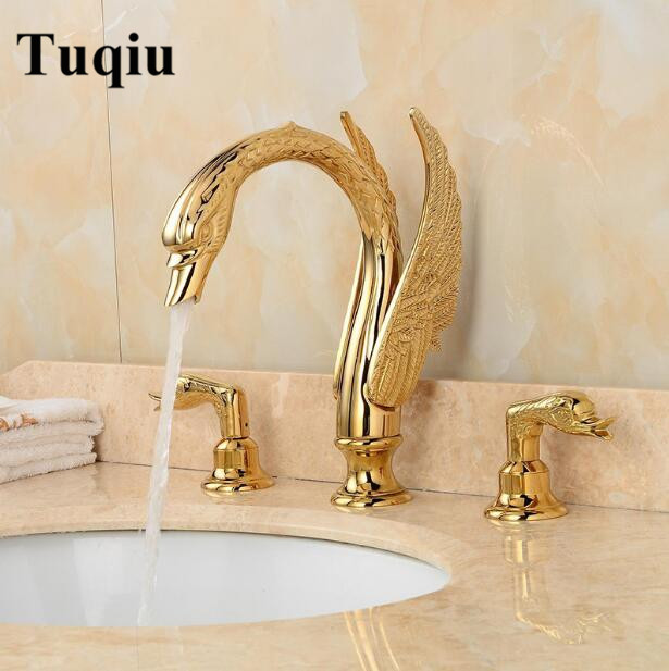 luxury brass material swan design double handle bathroom water faucet gold finished widespread basin faucet sink faucet fashion high quality brass bathroom widespread basin faucet double handle gold plating sink faucet free shipping