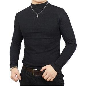 Image 1 - Camisa de t dos homens t shirt homem inverno térmica meia gola tshirt outono primavera camisetas mens quentes básicas grossas shirts tops roupas