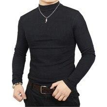 T shirt homme hiver thermique t shirt homme demi col roulé t shirt automne printemps t shirts hommes de base chaud épais dessus de chemise vêtements