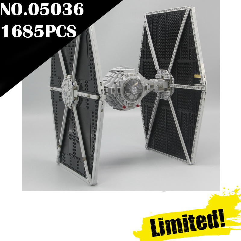 IN STOCK 1685pcs Star 05036 Series Wars Tie Fighter Building Educational Blocks Bricks Toys Compatible 75095 Gifts lepin lepin tie fighter 05036 1685pcs star series wars building bricks educational blocks toys for children gift compatible with 75095