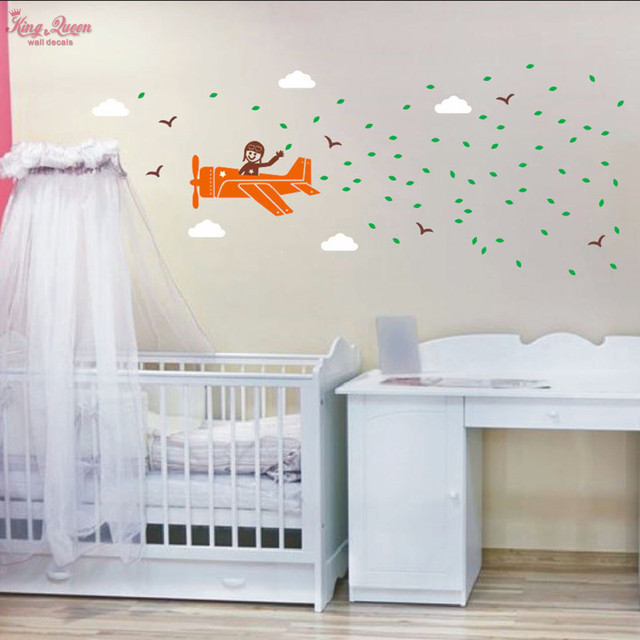 Baby Crib, Bedroom Wall Art Decals Aircraft, Birds, Clouds, Leaves