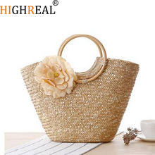 Spring Handmade Knitting Bags Original Brand Top Handle Bag Fashion Ladies Handbag Straw Beach Tote Handbag Shopping Bag