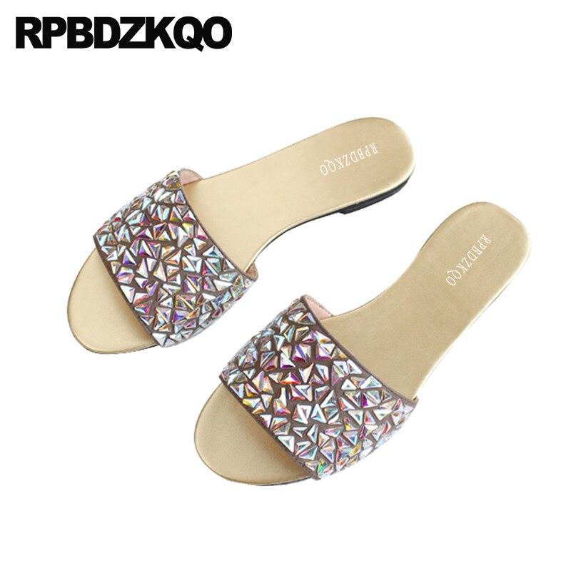 Arc-en-ciel en cuir véritable Bling haute qualité diapositives cristal femmes sandales plat été 2018 belles chaussures pantoufles diamant strass