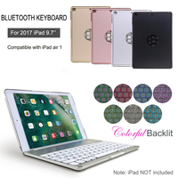7 Colors Tablet Keyboard Wireless Backlit Keyboard Aluminium Bluetooth Keyboard Smart Folio Case For IPad 9