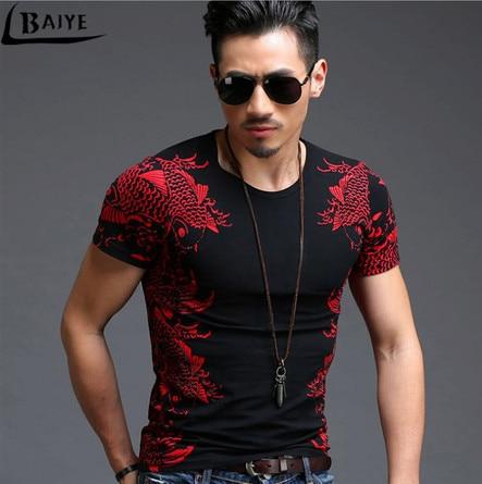 TBAIYE 2019 Fashion Luxury Bronzing Print Men   T     shirt   Brand Slim O neck Short Sleeve Good Quality   T  -  shirt   Black Tee   Shirts   M-4XL