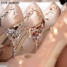 ماركة فاخرة النساء مضخات أشار تو زهرة كعب أحذية الزفاف النساء أنيقة الحرير العلامة التجارية تصميم عالية الكعب السيدات أحذية حجم 42
