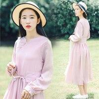 Traditional chinese dress for women 2019 retro style girls Korea Japan dress cute china mandarin collar clothing tie waist