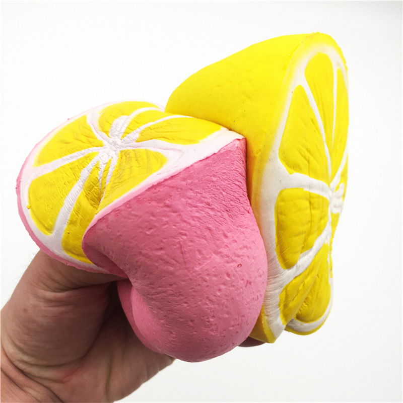 Soft Yellow Jumbo Half Lemon Squishy Jumbo Squeeze Toys Anti-stress Slow Rising Food Pink Fruit Attracting Scuishy For Hand Kids