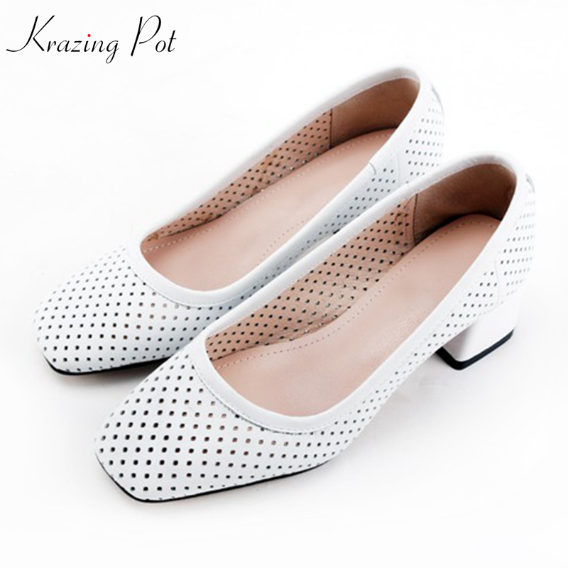 KRAZING new POT full grain leather original design thick heels shallow women hollow pumps square toe beauty lady brand shoes L47-in Women's Pumps from Shoes    1