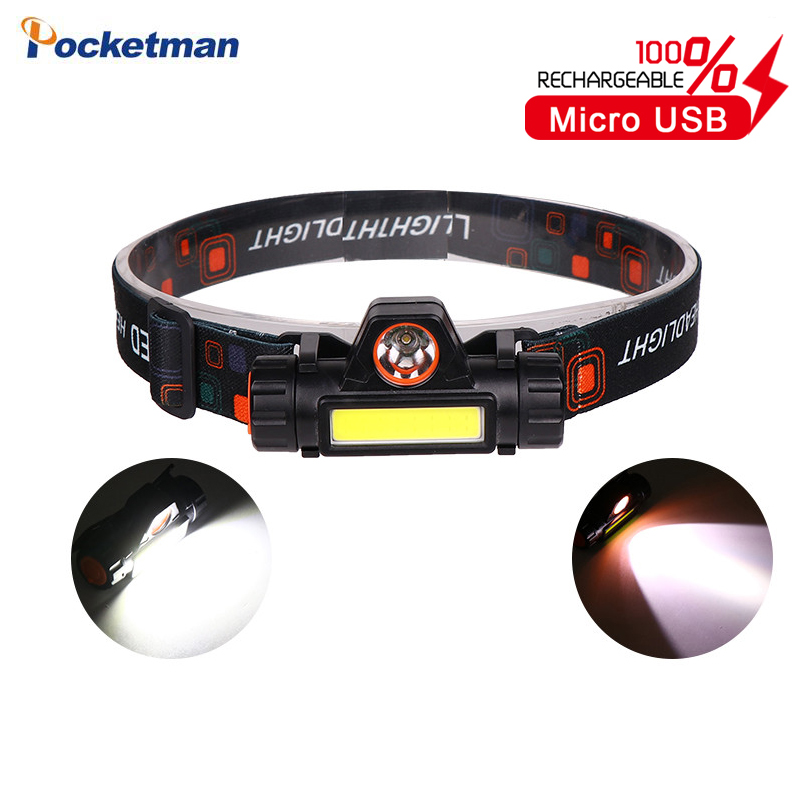 Portable Mini LED Headlamp XPE+COB LED Headlight Head Lamp Flashlight Torch Lanterna Head Light Built-in Battery For Camping