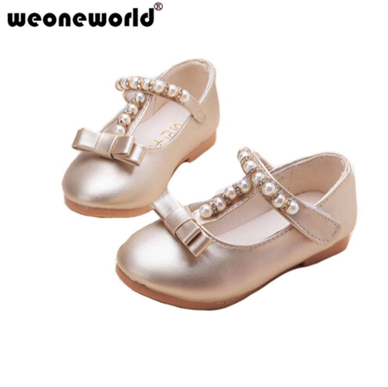 WEONEWORLD Dress Shoes for Girls Pink Silver Gold Childrens PU Leather  Dance Party Pearls Bow Princess Shoes for Kids 2018 54886ad4afd0