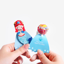 48Pcs Princess Snow White Mermaid Cartoon Candy Lollipop Decoration Card For Kids Birthday Party Supplies Candy Gift Accessories все цены