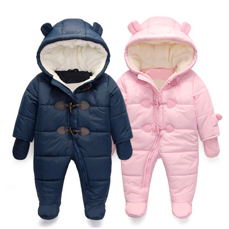 Baby Snowsuits Cotton Hooded Jumpsuit Boys Girls Winter Warm Coats Kids Clothes Infantil Newborn Thicken   Rompers   Outerwear 0-24M
