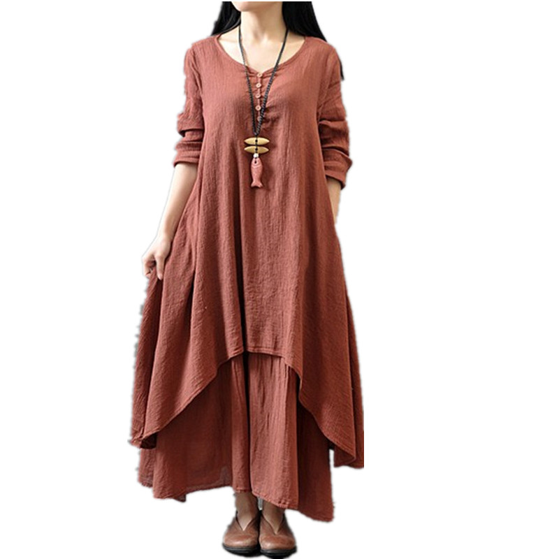 2017 New Fashion Women Dress Loose Long Sleeve Autumn Spring Dress Cotton Linen Solid