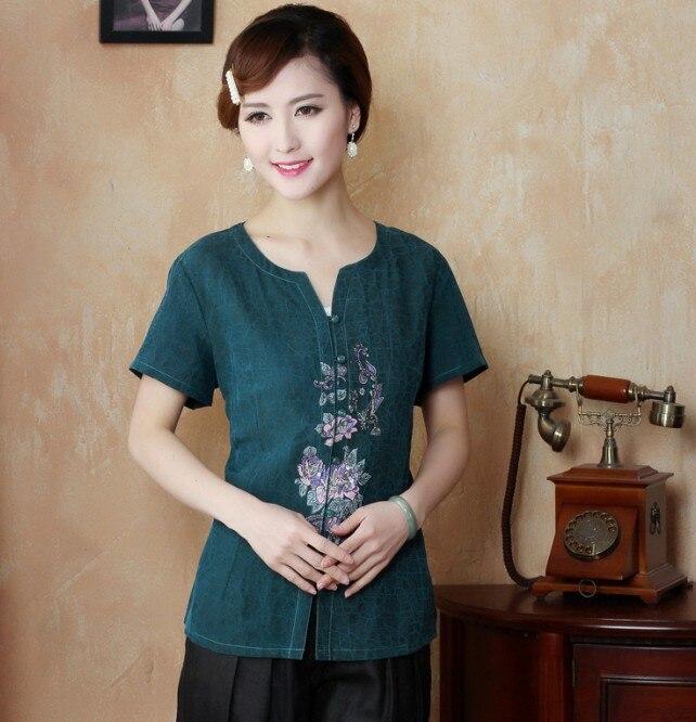 2014 nueva señora clothing del 100% de seda de las mujeres chinas verdes blusas