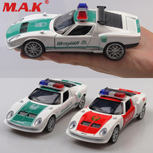 цена на classic car model toys 1:32 scale diecast Dubai police sports car metal model toy pull back with sound light door can open