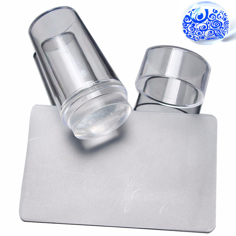 2019 Nail Stamping Plates Scraper Pure Clear Plast Acrylic Silicone Scraper With Cap Transparent 2,8cm Stämpel Nail Art Template