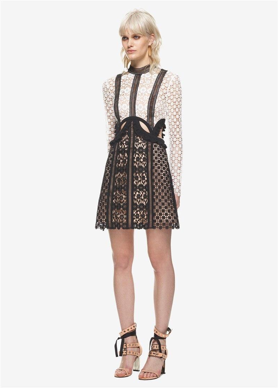 New Black White White Flower Fashion One Piece Lace Flower Dress