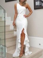 2018 New Fashion Women Summer Elegant Asymmetrical Party Bodycon Dress One Shoulder Twisted Ruffles Slit Hem formal Formal Dress
