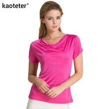 100% чистого шелка женские футболки Женщины клобук воротник диких рубашки Femme топы с короткими рукавами женские повседневные футболки женские футболки