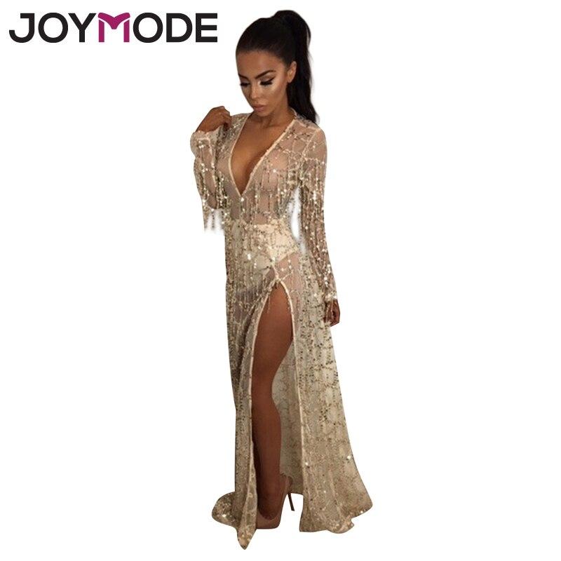 JOYMODE Sexy Profonde V Cou Sequin Gland D'été Plage Robe 2017 Plage Longue Robe Femmes Robe Vintage de Split Robes-E