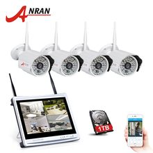 "ANRAN 4CH 12""LCD NVR Wireless Security Camera System 720P IP Camera Wifi HD H.264 Outdoor IR Night Vison Home Surveillance Kit(China)"