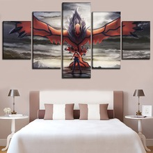 Modern Printed Abstract Painting On Canvas 5 Panel Animation Pokemon Modular Picture Wall Art Home Decoration Poster Framework