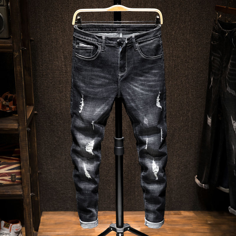 Men's Loose Straight Barrel Elastic Trend in Spring 2019 Puncture Patch   Jeans   Men's MP347