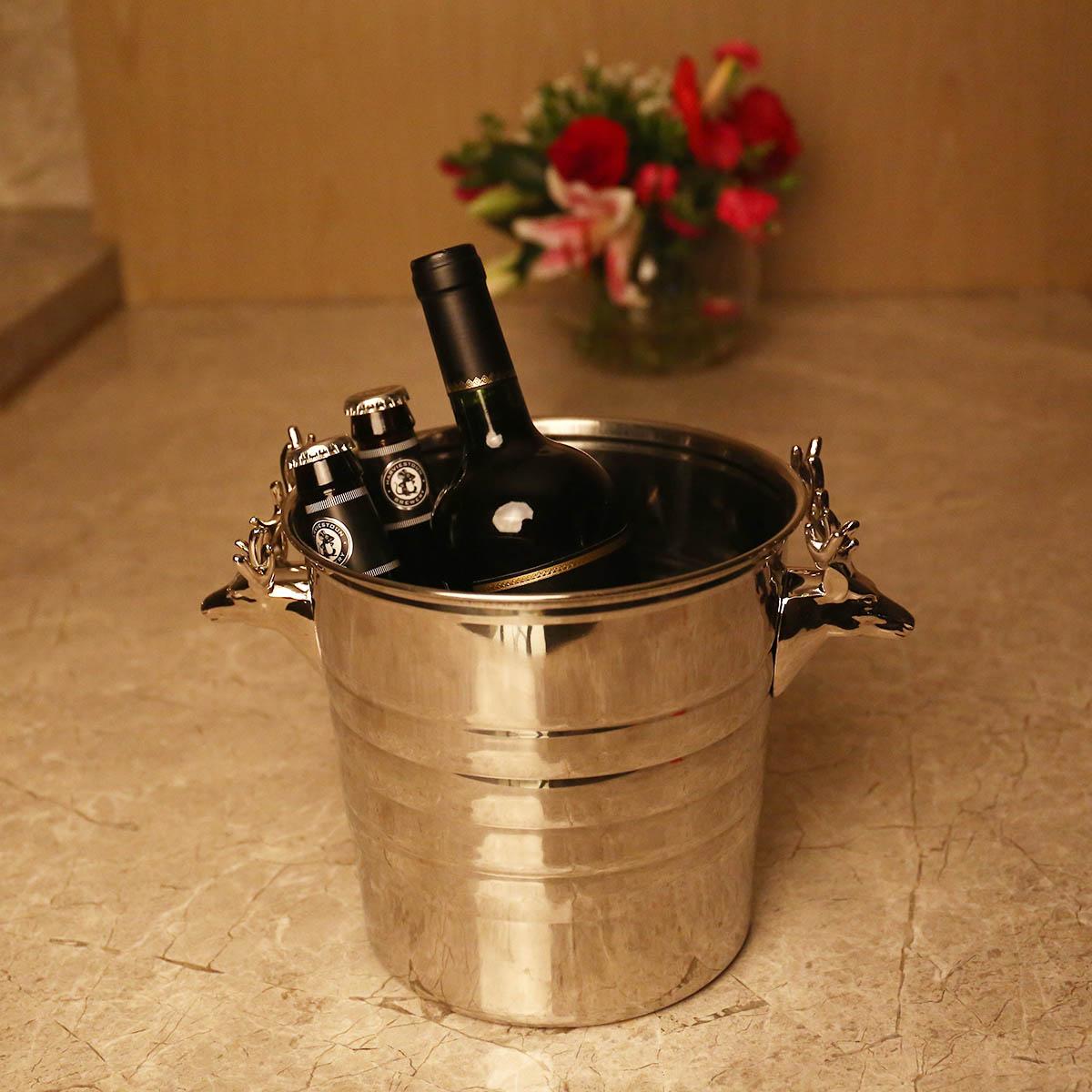 Cubo de hielo de acero inoxidable con cabeza de ciervo plateado, herramienta de Bar, herramienta para el hogar, Cubo de vino, Cubo de champán, accesorios para Bar-in Otros from Hogar y Mascotas    2