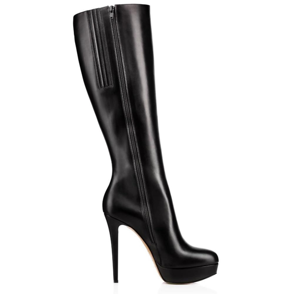 Pleine À Nouvelle Plate Chaussures De Arrivée Noir Talons forme Fermeture D'hiver Hauts Aiyoway Robe Femmes Hautes Genou Mode Rond Bottes Bout Glissière Dames EqU8xnd1wx