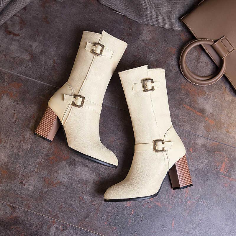 Esrfiyfe 2019 Ukuran Besar 32-50 Sepatu Wanita Baru Musim Gugur Musim Dingin Fashion Wanita Sepatu High Heels Wanita Pertengahan Betis boots Hangat Sepatu