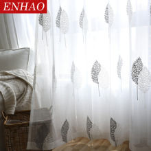 ENHAO White Leaves Sheer Tulle Curtains for Living Room Bedroom Kitchen Voile Sheer Curtains for Window Tulle Curtains Drapes(China)