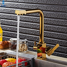 Ulgksd Золотой очистки воды смеситель для кухни Золотой Кухонная мойка кран горячей и холодной воды смесители воды
